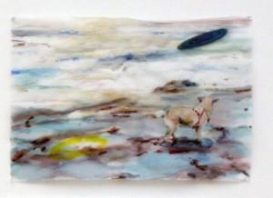 Cony Theis_Hund am Meer, 2010, Chinesische Tuschen/Öl/Transparentpapier, 29,7 x 42 cm,