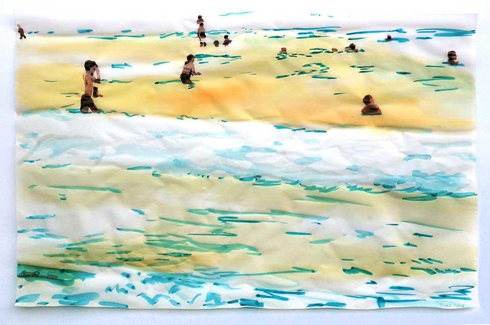 Cony Theis_Strand 2, 2008, Chinesische Tusche/Öl/Transparentpapier, 29,7 x 42 cm